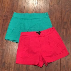 Green pink tailed J crew shorts